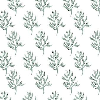 Modèle sans couture avec des feuilles vertes de style aquarelle vintage