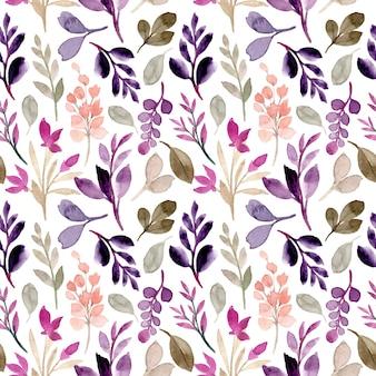 Modèle sans couture de feuilles violettes vertes avec aquarelle