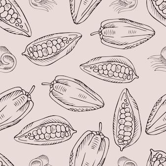 Modèle sans couture avec des fèves de cacao.