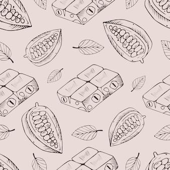 Modèle sans couture avec des fèves de chocolat et de cacao.