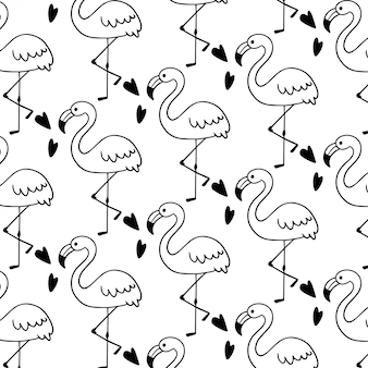Modèle sans couture flamant mignon doodle