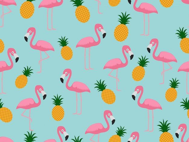 Modèle sans couture de flamant rose à l'ananas