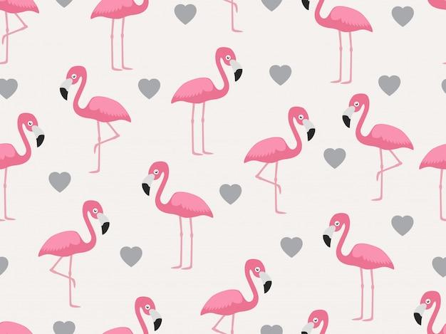Modèle sans couture de flamant rose avec coeur