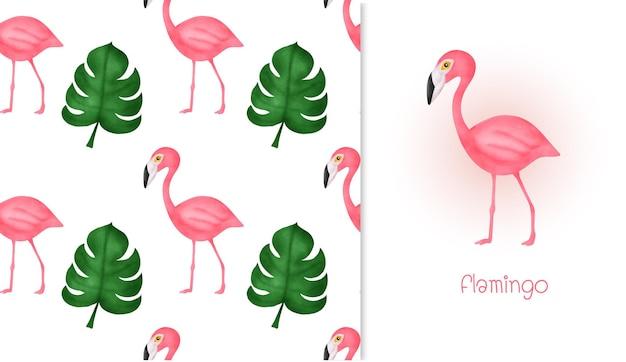 Modèle sans couture de flamant rose dessiné à la main
