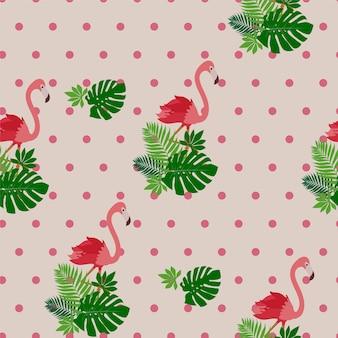 Modèle sans couture avec flamant rose et feuilles tropicales.