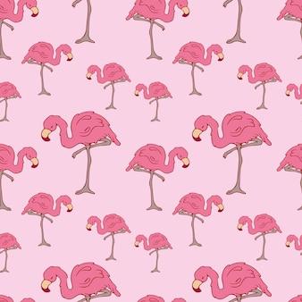 Modèle sans couture. flamants roses. griffonnage. oiseau de contour. contour. flamant rose. couleur rose