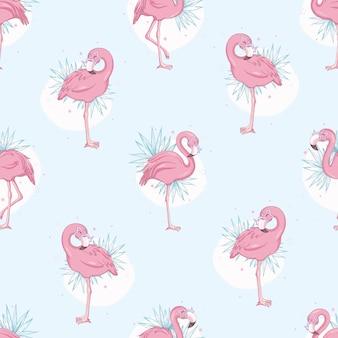 Modèle sans couture avec des flamants roses