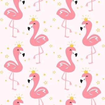 Modèle sans couture de flamingo queen