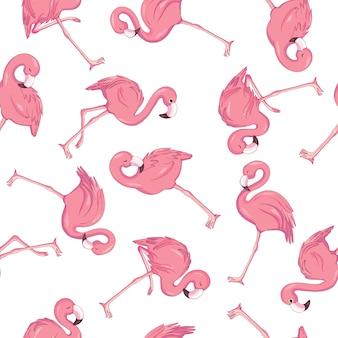 Modèle sans couture de flamingo tropical