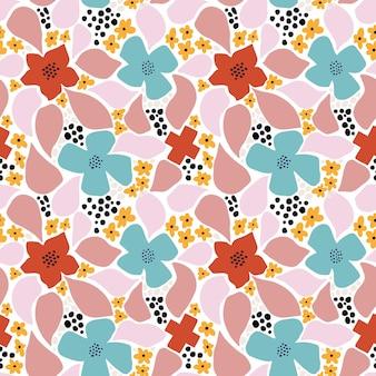 Modèle sans couture de fleur abstraite avec des formes géométriques, des taches et des motifs tropiques. répétez l'impression graphique avec des formes modernes et des éléments floraux. fond de style de collage de vecteur. motif de fleurs à la mode.