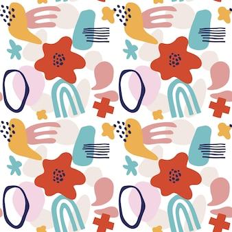 Modèle sans couture de fleur abstraite avec des formes géométriques, des taches et des motifs tropiques. répétez l'impression graphique avec des formes modernes et des éléments floraux. illustration de style de collage de vecteur. motif de fleurs à la mode.