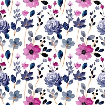 Modèle sans couture de fleur aquarelle bleu violet