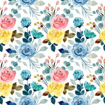 Modèle sans couture de fleur aquarelle colorée