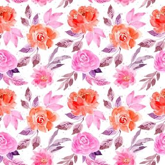 Modèle sans couture de fleur aquarelle rose pourpre