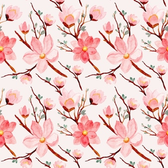 Modèle sans couture de fleur aquarelle rose