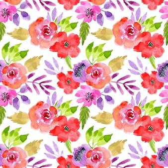 Modèle sans couture de fleur aquarelle