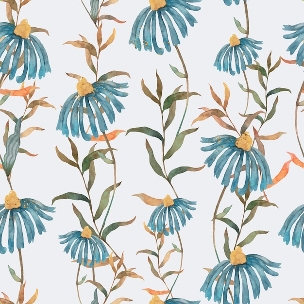 Modèle sans couture de fleur bleue