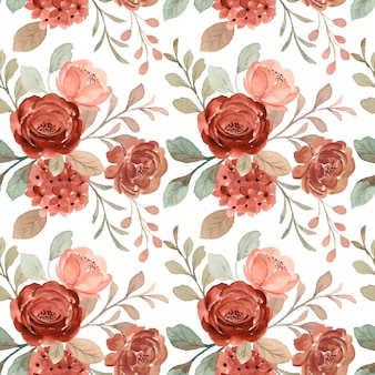 Modèle sans couture de fleur brune avec aquarelle