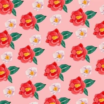 Modèle sans couture de fleur de camélia rouge aquarelle
