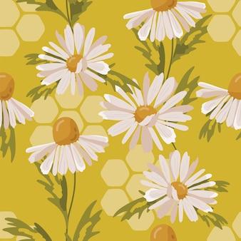 Modèle sans couture avec fleur de camomille.