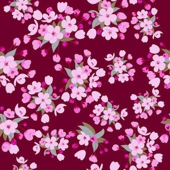 Modèle sans couture avec fleur de cerisier