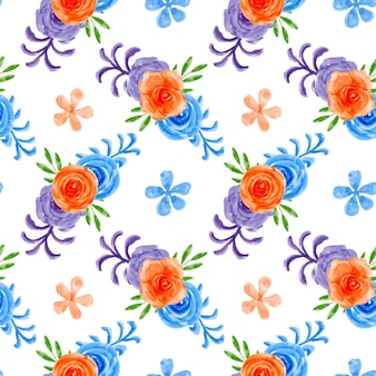 Modèle sans couture de fleur colorée à l'aquarelle