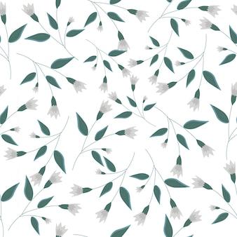 Modèle sans couture de fleur et feuille blanche