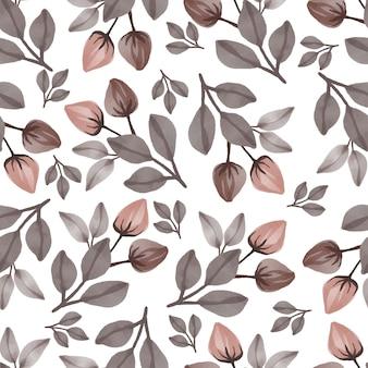 Modèle sans couture de fleur et feuille marron