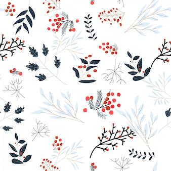Modèle sans couture de fleur floral mignon hiver doux