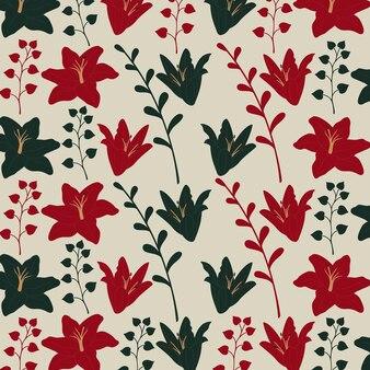 Modèle sans couture de fleur d'hibiscus en fond rouge et vert