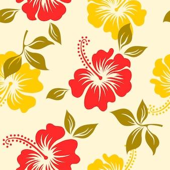 Modèle sans couture avec fleur d'hibiscus hawaii