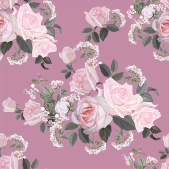Modèle sans couture de fleur avec illustration vectorielle rose rose