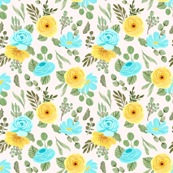 Modèle sans couture de fleur jaune bleu