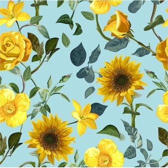 Modèle sans couture de fleur jaune
