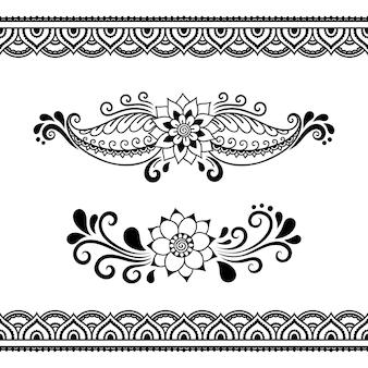 Modèle sans couture de fleur de mehndi et bordure.