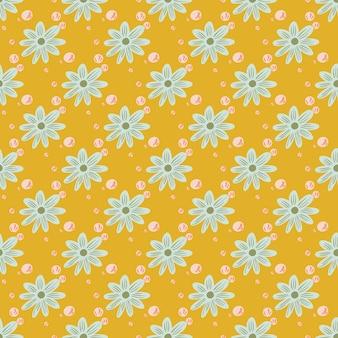 Modèle sans couture de fleur avec ornement de formes de fleurs bleues. fond clair jaune. impression vectorielle à plat pour textile, tissu, emballage cadeau, papiers peints. illustration sans fin.