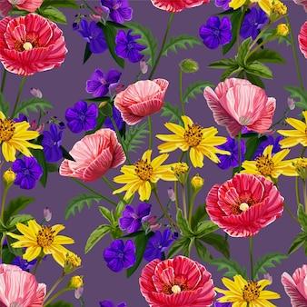Modèle sans couture de fleur de pavot