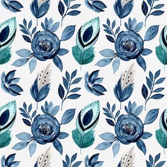 Modèle sans couture avec fleur et plume aquarelle bleu