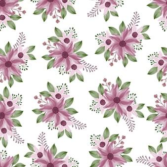 Modèle sans couture de fleur pourpre et feuille verte pour le design textile