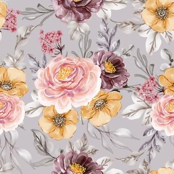 Modèle sans couture avec fleur de printemps rose vintage