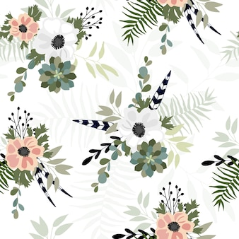 Modèle sans couture avec fleur de printemps.