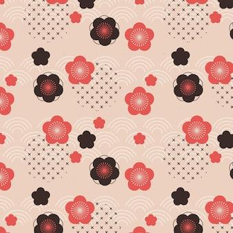 Modèle sans couture de fleur de prunier dans des formes géométriques vintage
