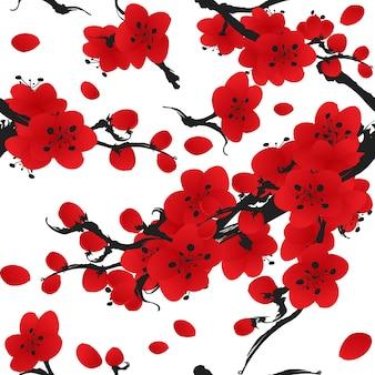 Modèle sans couture de fleur de prunier.