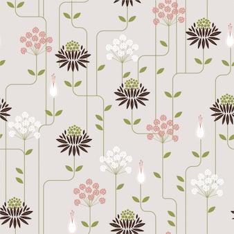 Modèle sans couture de fleur rétro avec ligne. motif d'ornement pour tissus, papiers peints et imprimés à la mode