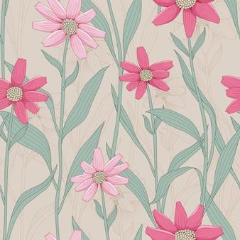 Modèle sans couture de fleur rétro avec marguerite rose