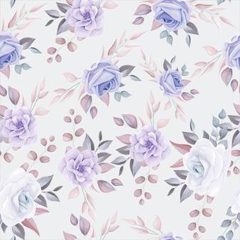 Modèle sans couture de fleur romantique avec décoration de fleurs violettes