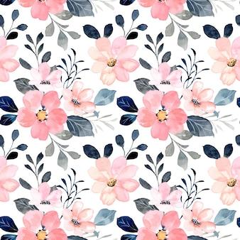 Modèle sans couture de fleur rose avec aquarelle