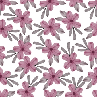 Modèle sans couture de fleur rose et feuille grise