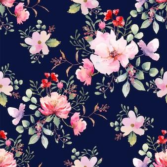 Modèle sans couture de fleur rose fond bleu foncé. illustration aquarelle dessinée.