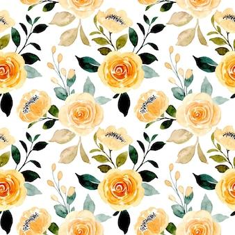 Modèle sans couture de fleur rose jaune aquarelle